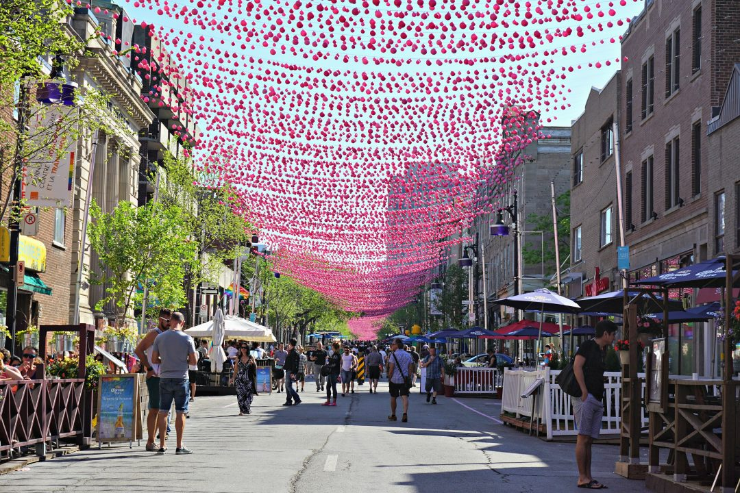 Gay Village Montreal pink balls
